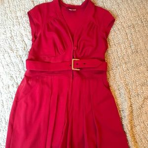 Red Belted Pleated Dress With Pockets 2x Modcloth